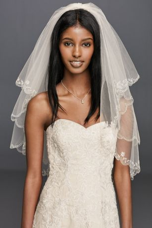 Fingertip Length Two-Tier Veil with Scallop Edge - This two-tier veil features a beautifully beaded scallop