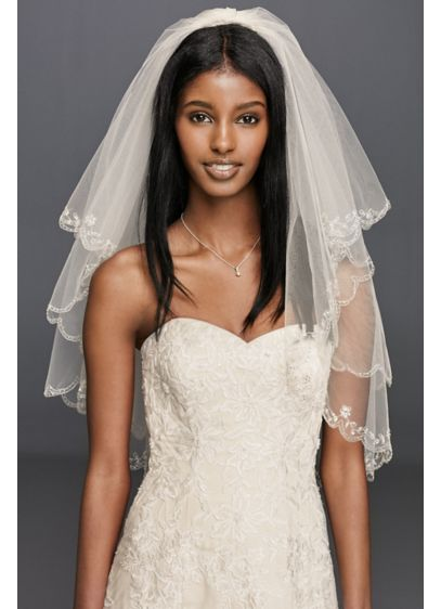 Fingertip Length Two-Tier Veil with Scallop Edge - Wedding Accessories
