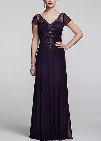Long Cap Sleeve Dress with Beaded Embellishment