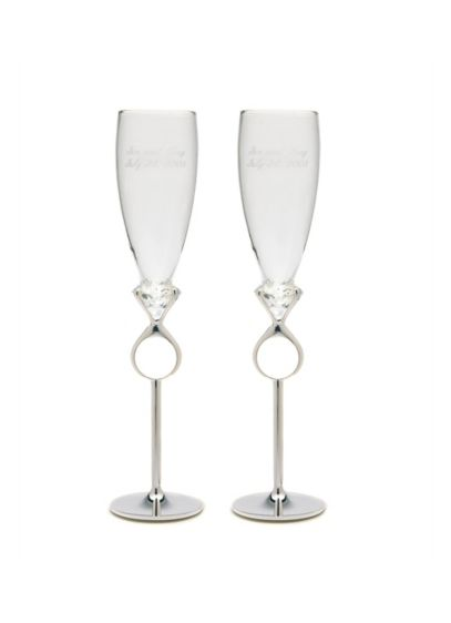 Personalized Diamond Ring Toasting Flutes - Wedding Gifts & Decorations