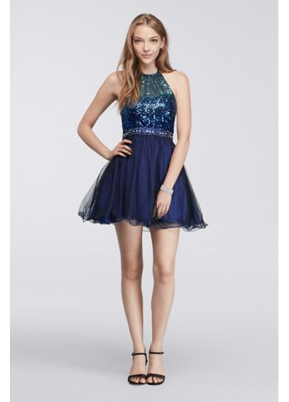 Short Dress with Ombre Sequin Bodice 7030562