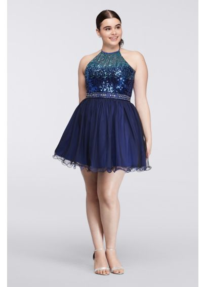 Short Plus Size Dress with Ombre Sequin Bodice 7030562W