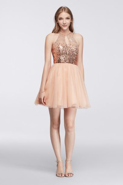 Short Halter Dress with Sequin Keyhole Bodice | David's Bridal