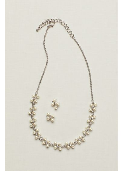 Pearl and Crystal Earring and Necklace Set - Wedding Accessories