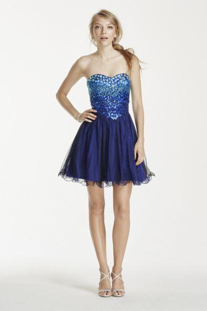 Short Strapless Jewel Embellished Sweetheart Dress | David's Bridal