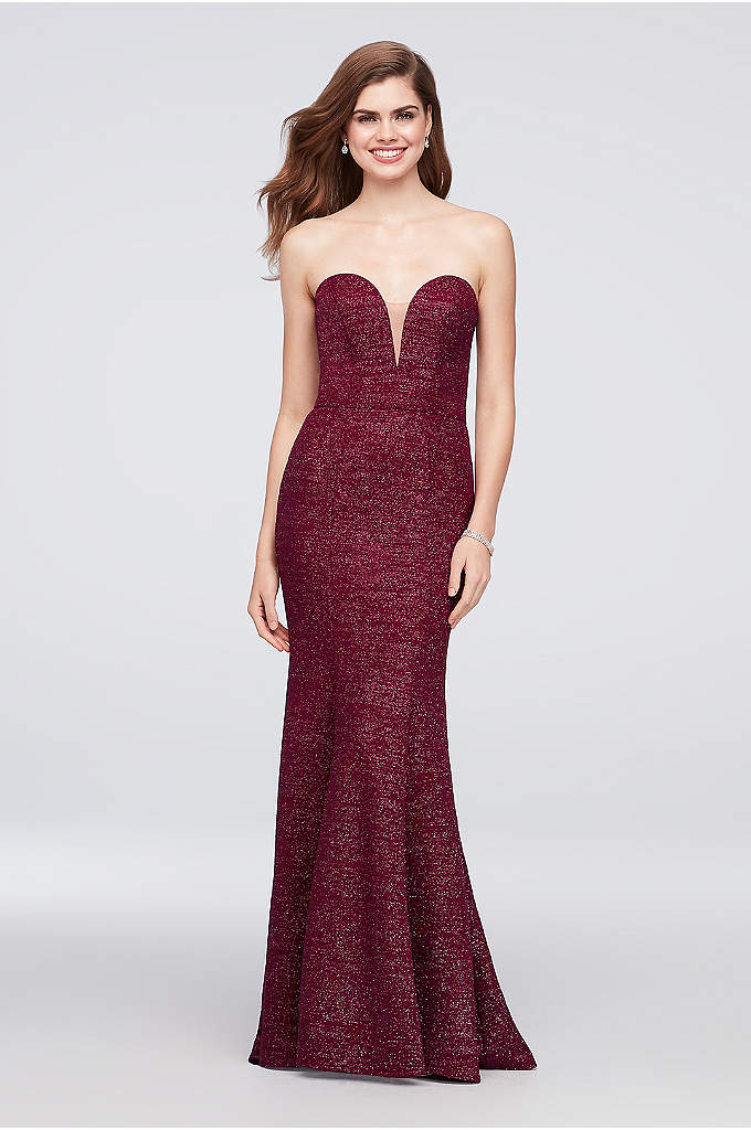 Strapless Plunge Glitter Knit Mermaid Gown - Infused with glitter and finished with an illusion-inset