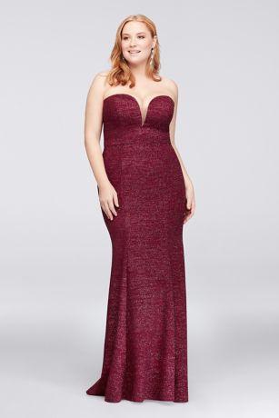 Strapless Plunge Glitter Knit Plus Size Gown | David\'s Bridal