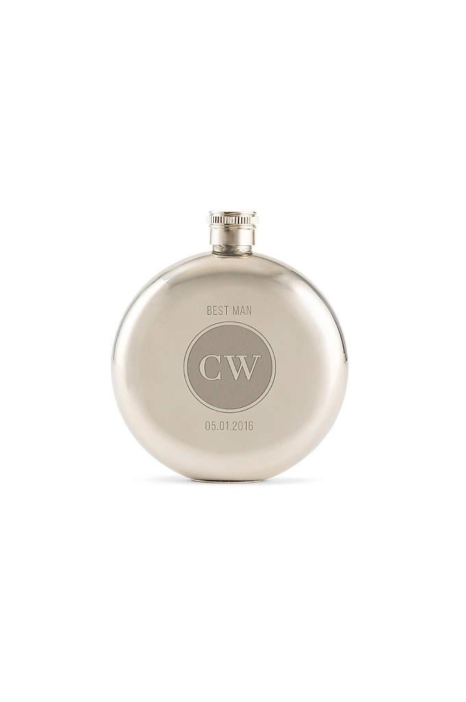 Personalized Circle Monogram Polished Round Flask - A Personalized Circle Monogram Polished Round Flask that