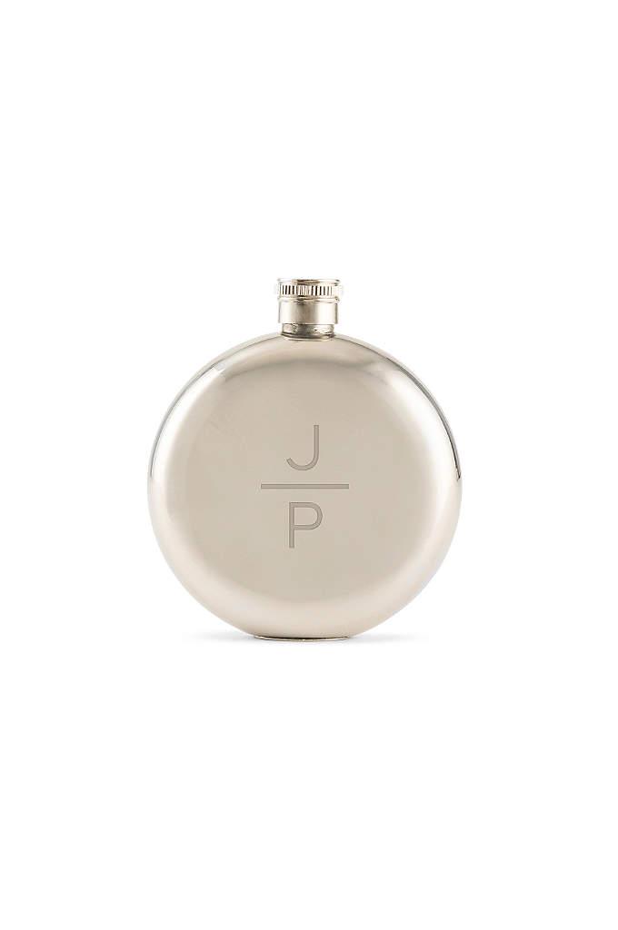 Personalized Stacked Monogram Polished Round Flask - Stacked monogram initials and a polished finish make