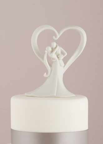 Stylish Embrace Cake Topper - Framed in a romantic heart, this stylish couple