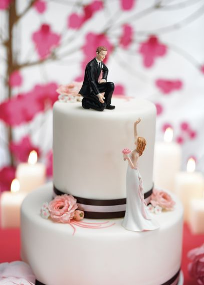 Reaching Bride and Helpful Groom Cake Toppers 7095