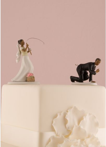 Fishing Bride and Caught Groom Cake Toppers - Wedding Gifts & Decorations