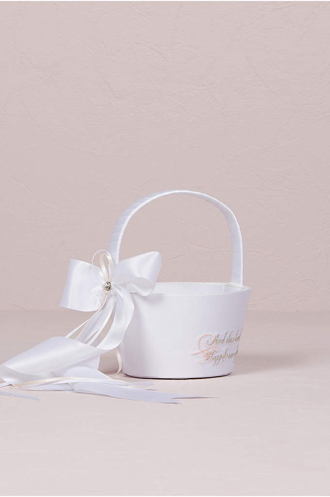 Fairy Tale Dreams Flower Girl Basket - With a generous jeweled satin bow and embroidery