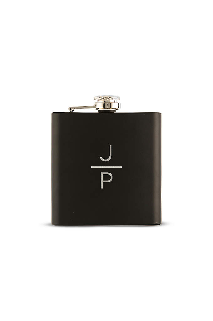 Personalized Stacked Monogram Black Coated Flask - This Personalized Stacked Monogram Black Coated Flask is