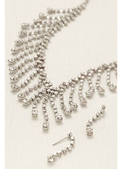 Rhinestone Drop Statement Earring and Necklace Set - Wedding Accessories