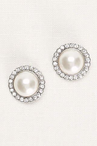 Aretes en Forma de Botón con Pedrería y Perlas