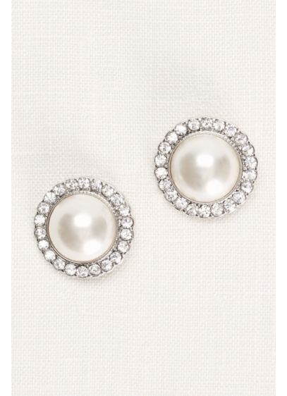 Pearl and Pave Button Earrings - Wedding Accessories