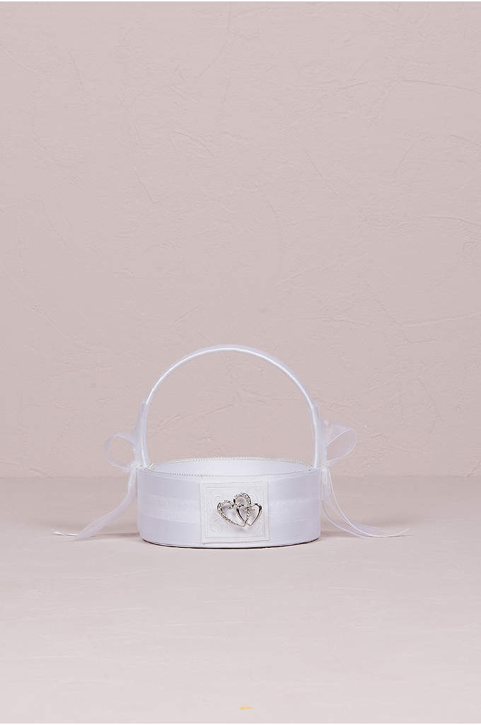 Classic Double Heart Flower Girl Basket - The Classic Double Heart Flower Girl Basket features