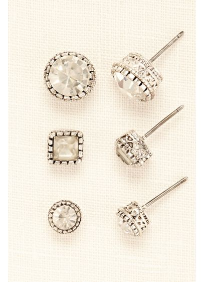 Trio of Multi-Shaped Crystal Studs - Wedding Accessories