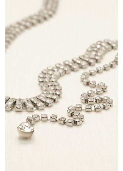 Three Row Rhinestone Back Necklace - Wedding Accessories