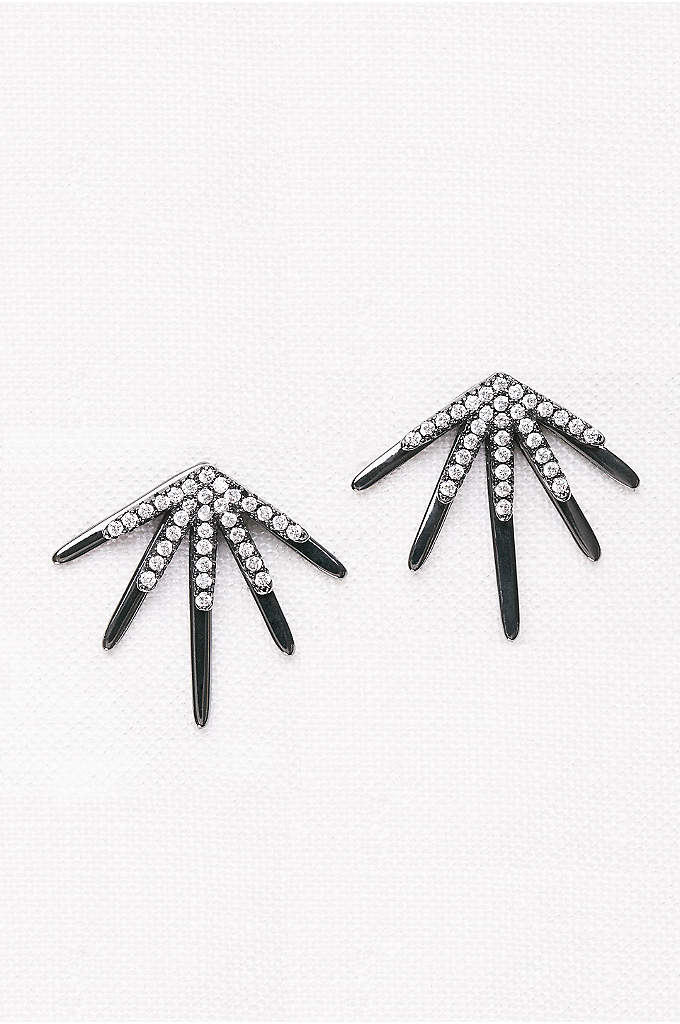 Crystal Burst Front-Back Earrings - This dynamic, burst-shaped pair features a pave crystal