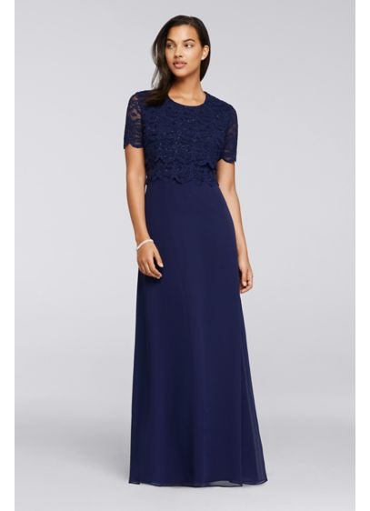 Long A-Line Short Sleeves Mother and Special Guest Dress - RM Richards