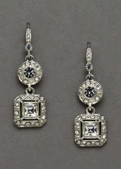 Square Crystal Drop Earrings 7316FW4123