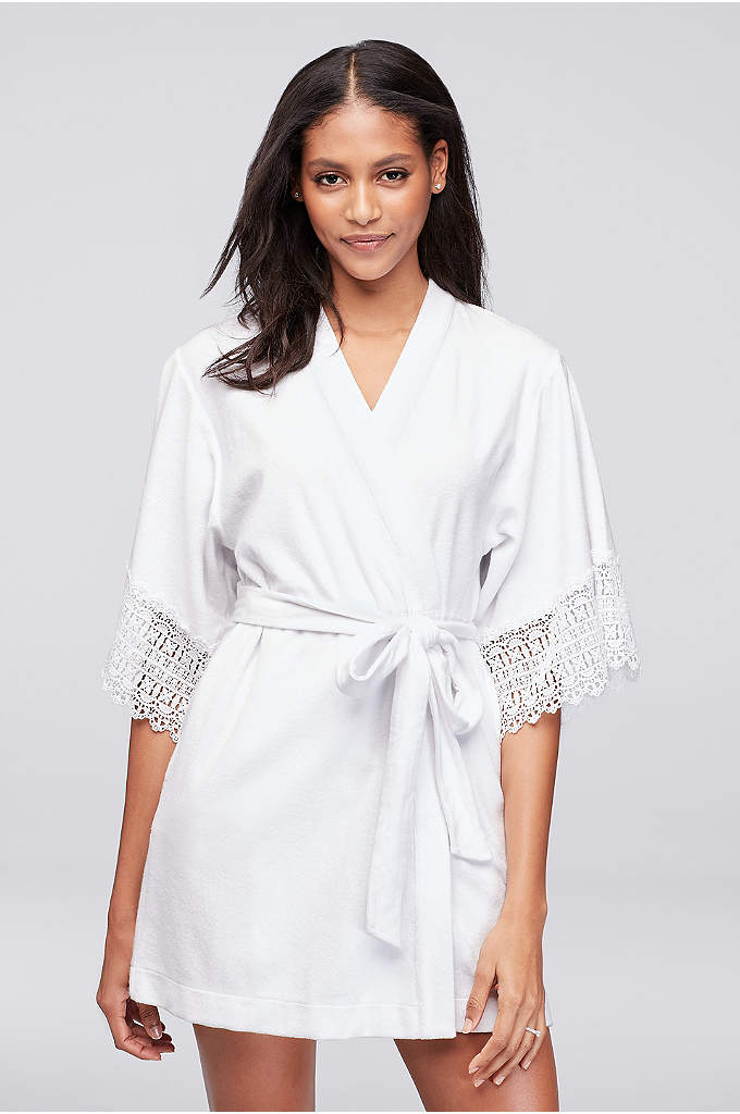Betsey Johnson Embroidered Terry Cloth Mrs Robe - This short terry robe is trimmed in crochet