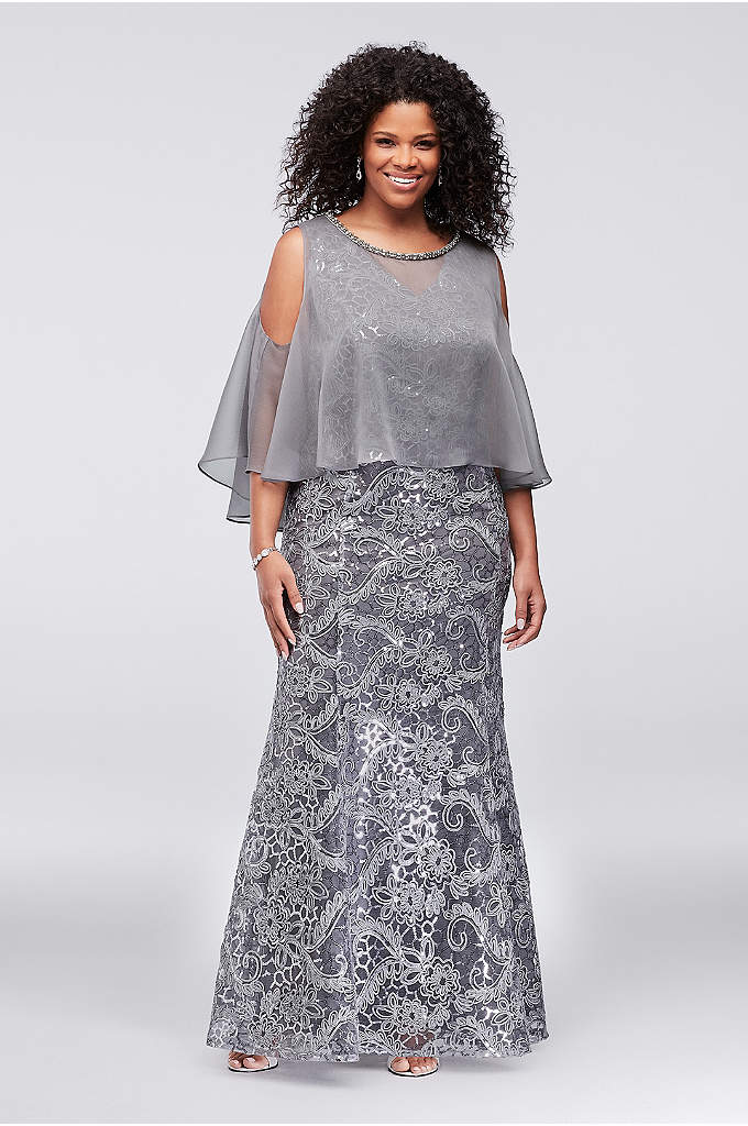 Piped Sequin Plus Size Dress with Capelet - Piped flowers and sparkling sequins shine atop this