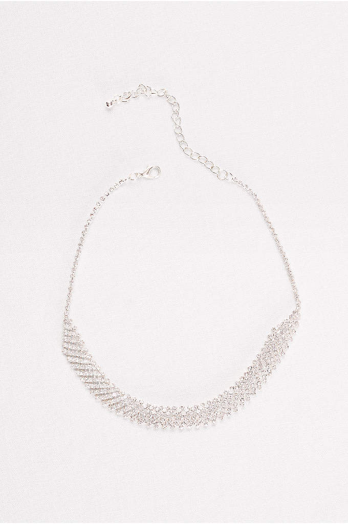 Diagonal Rhinestone Choker - Row after row of glittering rhinestones form a