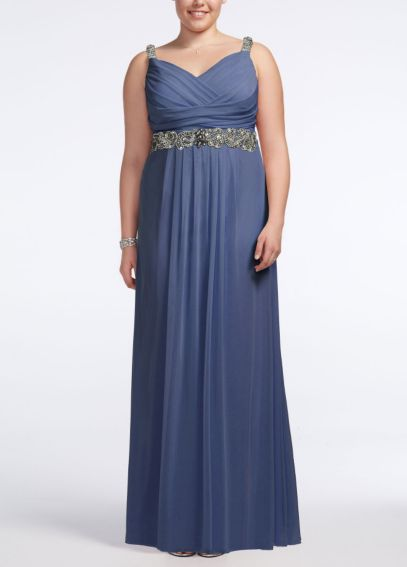 Jersey Dress with Embellished Waist and Straps 749418D