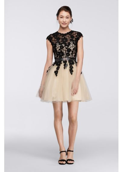 High Neck Venise Lace Homecoming Dress 7510553