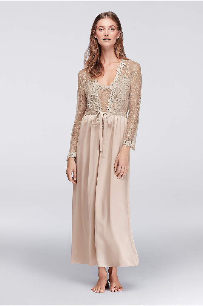 Flora Nikrooz Showstopper Long Robe - Gossamer metallic netting, appliqued with lacy flowers, adorns