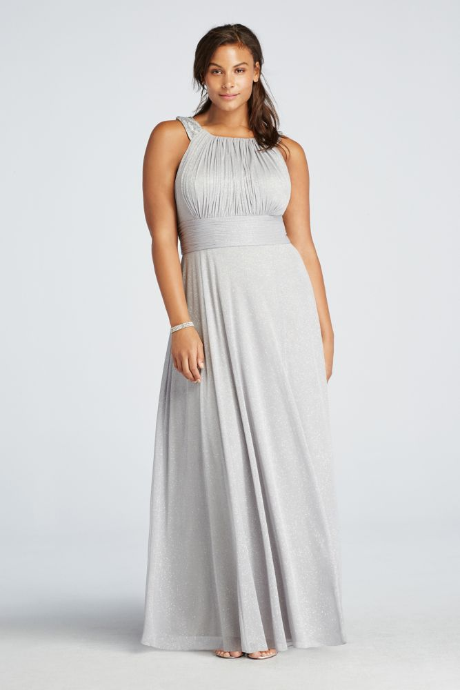 Sleeveless glitter jersey dress with beaded straps style for Wedding dresses new jersey