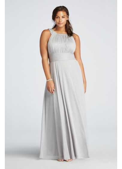 Long Grey Soft & Flowy Cachet Bridesmaid Dress