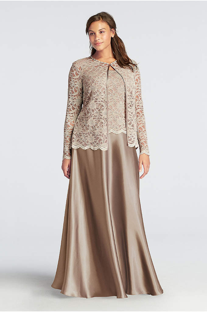 Long Mock Three Piece Dress Set with Pearl - Classic modest look with a stylish flare, this