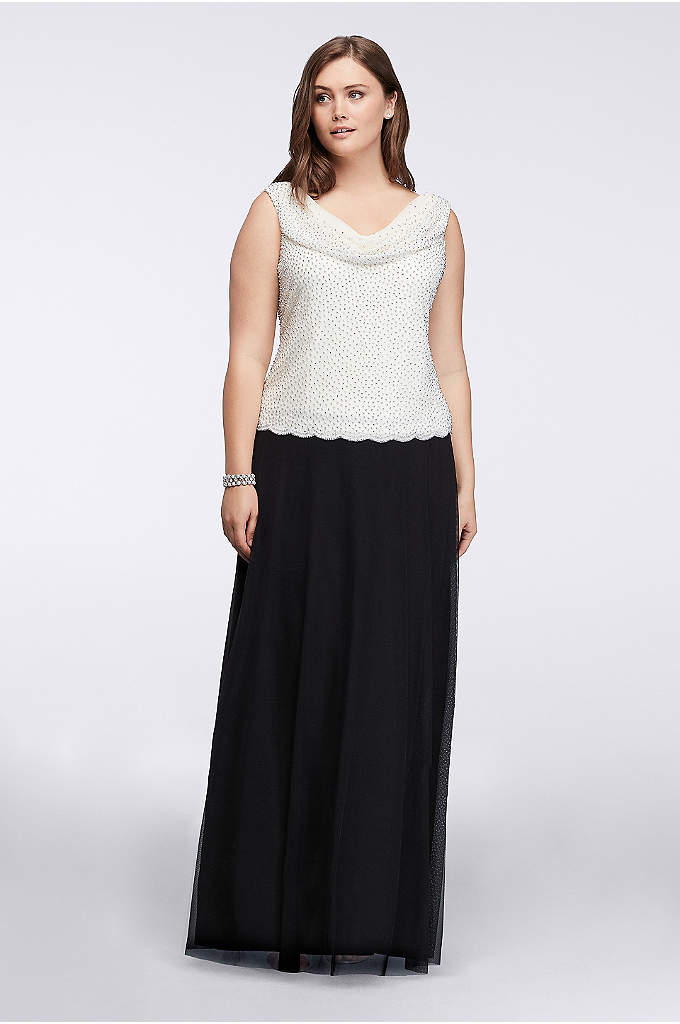 Plus Size Gown with Caviar Beaded Cowl Neckline - With its floor-length skirt and slimming drop-waist bodice,