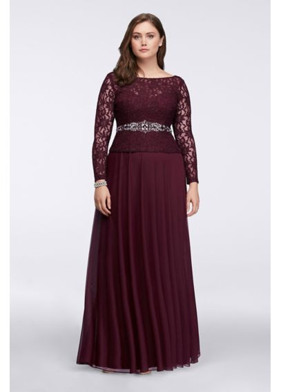 Long-Sleeve Lace Bodice Gown 757898D