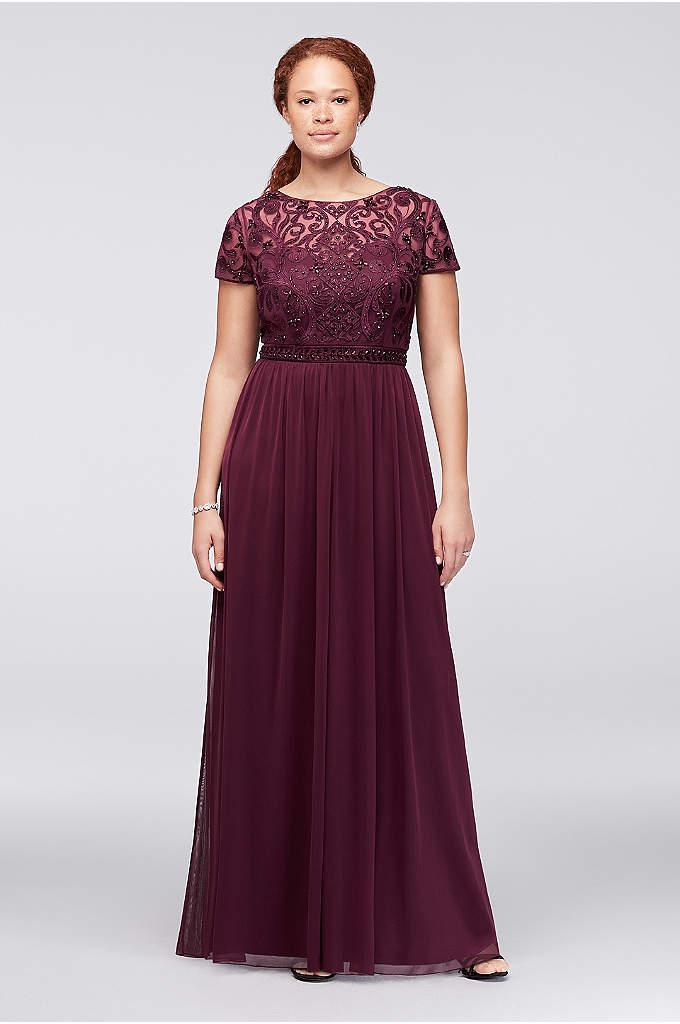 Crystal-Embellished Cap-Sleeve Plus Size Gown - This plus-size gown is as gorgeously detailed as