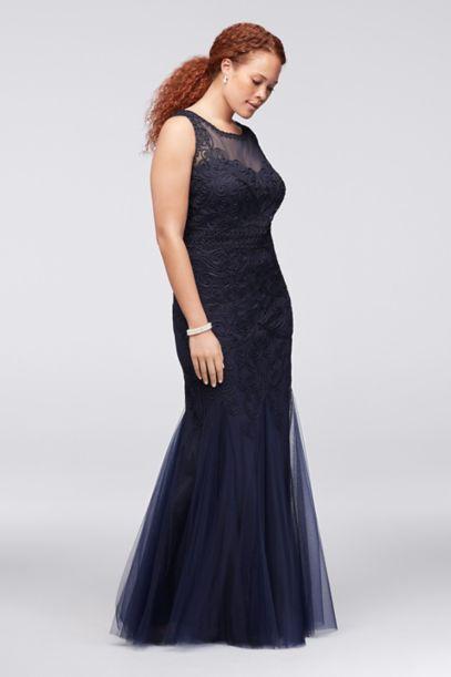 appliqued filigree tulle plus size mermaid gown | david's bridal