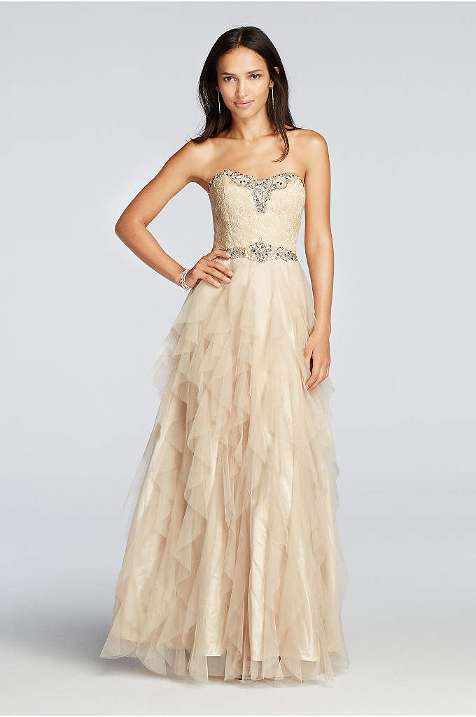 Crystal Beaded Prom Dress with Ruffled Skirt