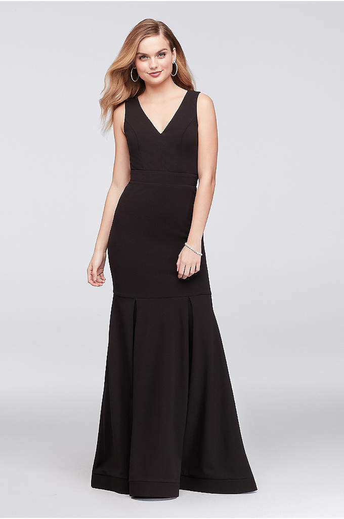 Box Pleated Crepe Mermaid Gown with Back Strap - Box pleats add a unique kick to the