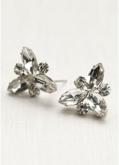 Crystal Starburst Stud Earrings - Wedding Accessories