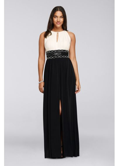 Long Dress with Keyhole Neck and Beaded Waist   7758