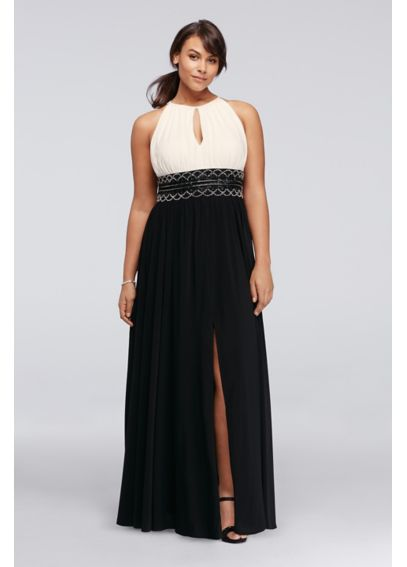 Long Halter Dress with Keyhole and Beaded Waist 7758W