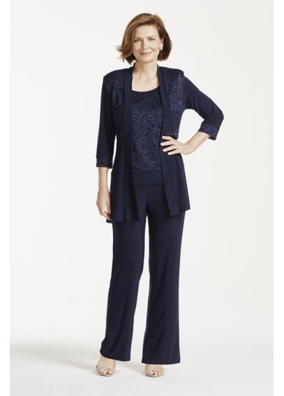 Mock Two Piece Top Lace and Jersey Pant Suit 7772