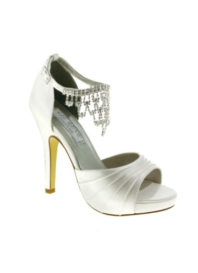 Satin High Heel Sandals with Crystal Ankle Chain - Wedding Accessories