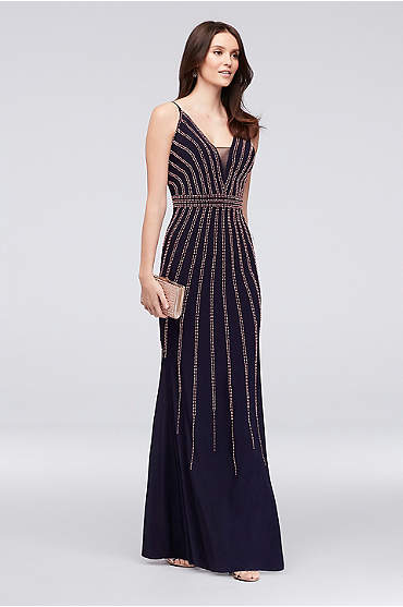 Deep V-Neck Spaghetti Strap Sheath with Beading