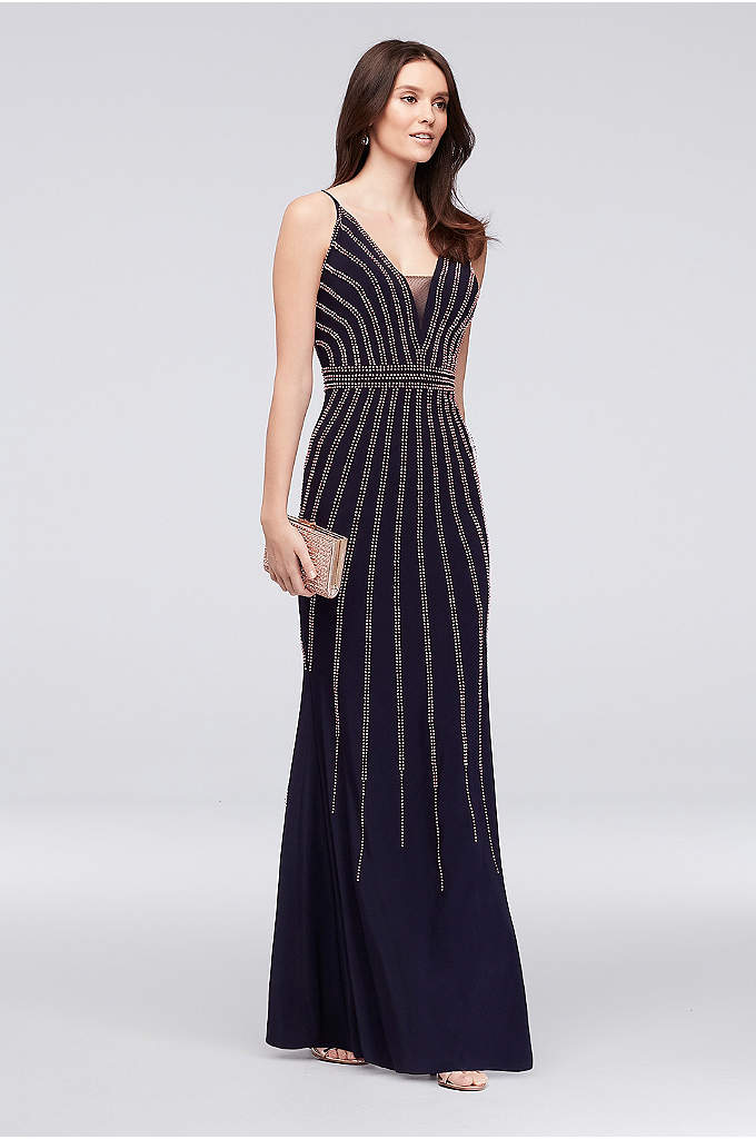 Deep V-Neck Spaghetti Strap Sheath with Beading - Lustrous metallic beads bring Hollywood-inspired glamour to this