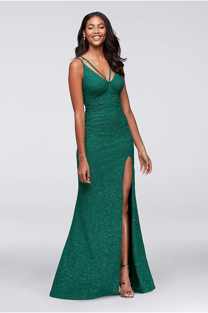 Double-Strap Glitter A-Line Gown - A rich hue with a blingy glitter finish